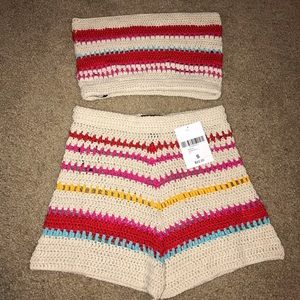 Brand new Forever 21 crotchet top and shorts